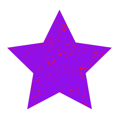 Grunge star. Purple  star with texture on an isolated white background. Marble star. Illustration.