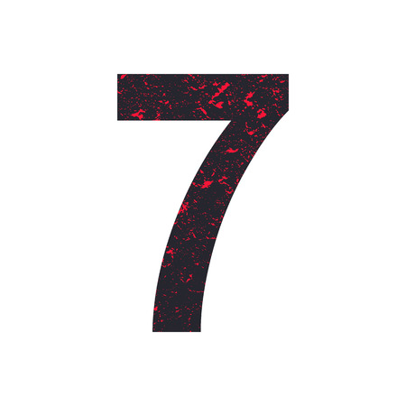 Number seven. 7 stylized grunge texture. Red-black stone texture. Illustration.