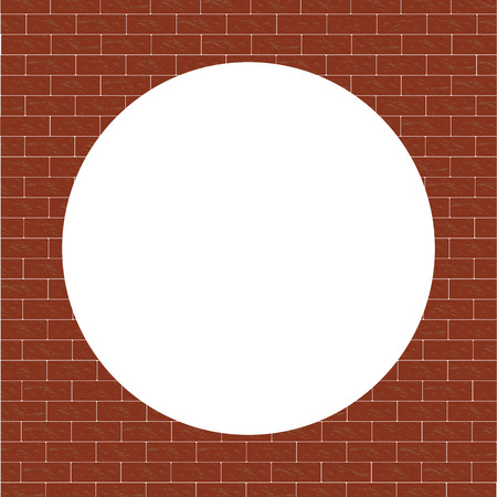 Brick wall of bricks. Grunge brown background. White frame in the form of a circle. Illustration.