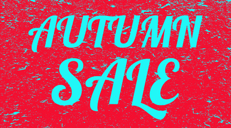 The word autumn sale grunge background. Red banner with blue text autumn sale. Poster. Illustration. Imagens