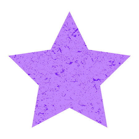 Grunge star. Pastel purple  star with texture on an isolated white background. Marble star. Illustration. Imagens