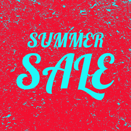 Word summer sale grunge background. Red banner with blue text summer sale. Poster. Illustration.