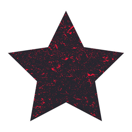 Grunge star. Black star with colored particles on an isolated white background. Marble star. Illustration.