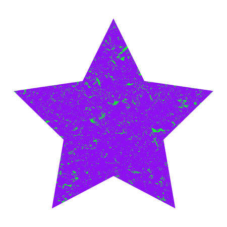 Grunge star. Purple star with texture on an isolated white background. Marble star. Illustration. Imagens