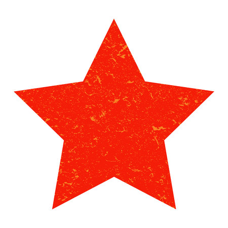 Grunge star. Red star with texture on an isolated white background. Marble star. Illustration.