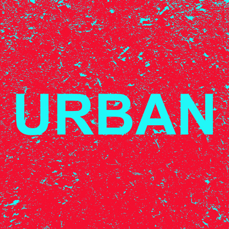 Inscription urban on the grunge background. Red banner with blue urban text. Poster. Illustration.