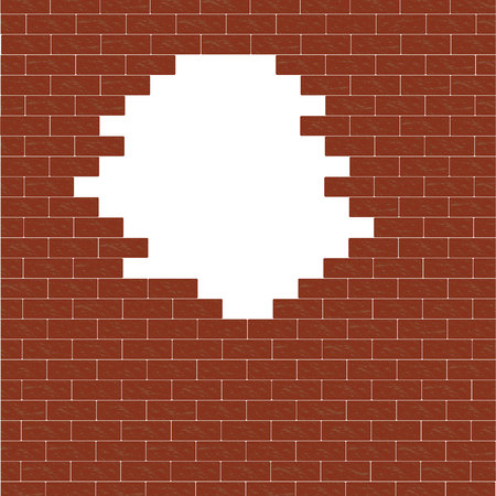 Hole in the brick wall. Broken brick wall. Brick background. Illustration.