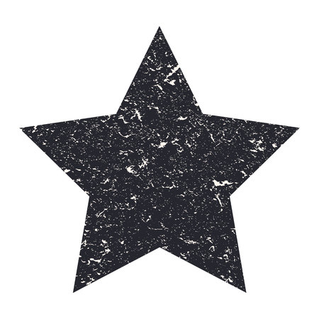 Grunge star. Black star with texture on an isolated white background. Marble star. Illustration.