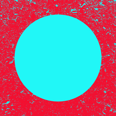 Blue circle on grunge red background. Red banner. Frame with place for text.Poster. Illustration.