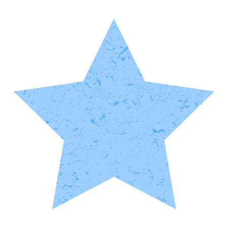 Grunge star. Pastel blue star with texture on an isolated white background. Marble star. Illustration. Imagens