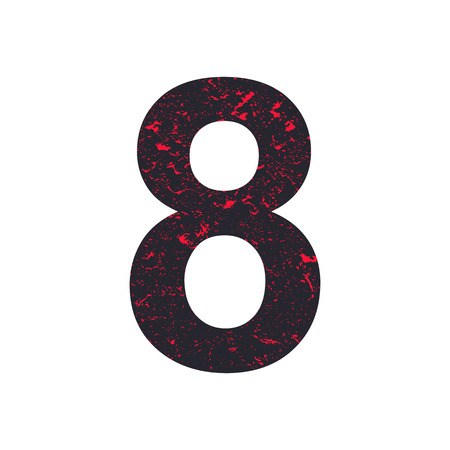 Number eight.  8 stylized grunge texture. Red-black stone texture. Illustration.