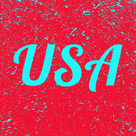 The inscription USA on the grunge background. Red banner with blue USA text. Poster. Illustration.