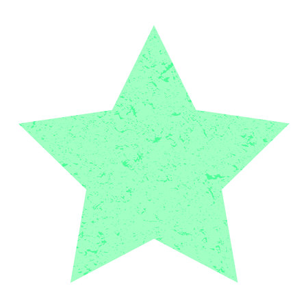 Grunge star. Pastel green star with texture on an isolated white background. Marble star. Illustration. Imagens