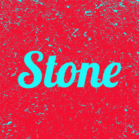 Inscription stone on a red grunge background. Banner. Illustration.
