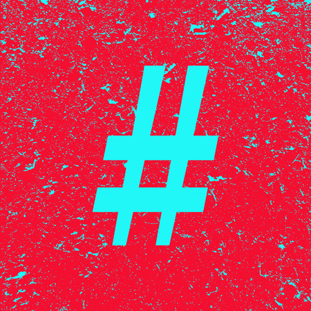 Sign hashtag on grunge background. Red banner with blue hashtag sign. Poster. Illustration.