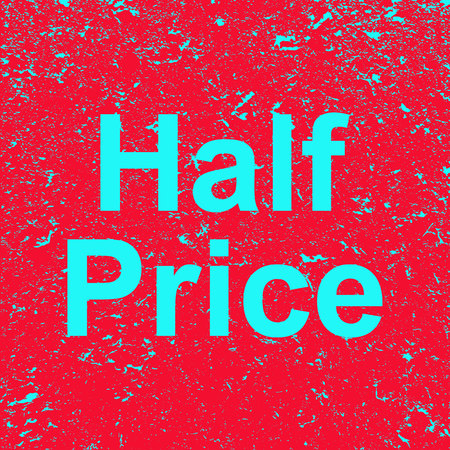 The inscription half price on a grunge background. Red banner with blue half price text. Poster. Illustration.