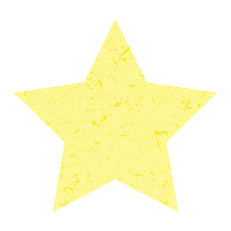 Grunge star.  Yellow star with texture on an isolated white background. Marble star. Illustration.