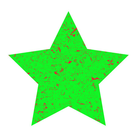 Grunge star. Green star with texture on an isolated white background. Marble star. Illustration.