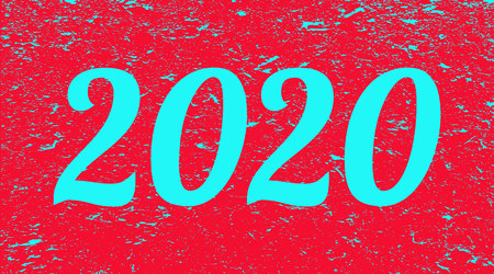 2020 on red grunge background. Two thousand and twenty. Banner. Illustration.
