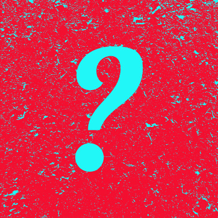 Question mark on grunge background. Red banner with blue Question sign. Poster. Illustration.