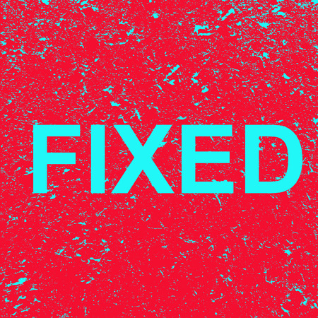 The word is fixed on a grunge background. Red banner with blue fixed  text. Poster. Illustration. Imagens