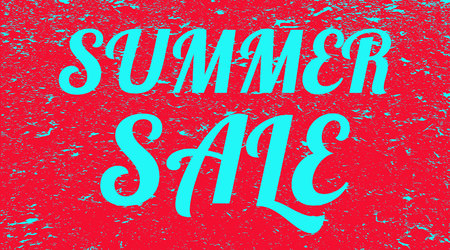 Slogan summer sale on red grunge background. Banner. Illustration.