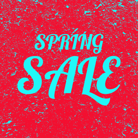 Word spring sale grunge background. Red banner with blue text spring sale. Poster. Illustration.