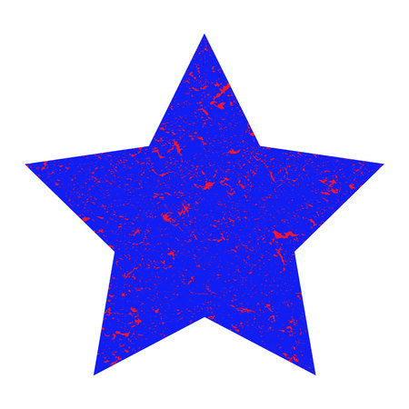 Grunge star. Blue  star with texture on an isolated white background. Marble star. Illustration.
