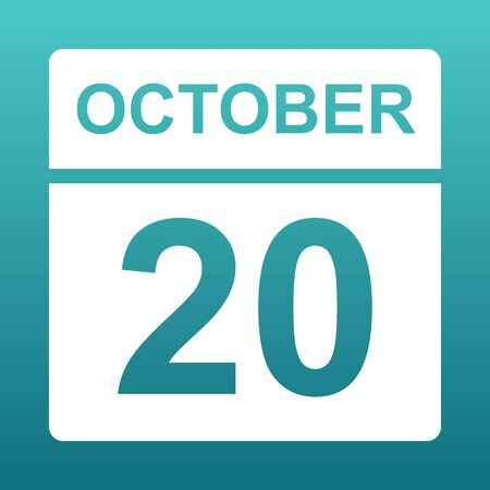 October 20. White calendar on a colored background. Day on the calendar. Twentieth of october. Blue green background with gradient. Illustration. Imagens - 127835372