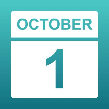 October 1. White calendar on a colored background. Day on the calendar. First of october. Blue green background with gradient. Illustration.