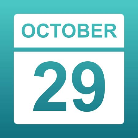 October 29. White calendar on a colored background. Day on the calendar. Twenty nine of october. Blue green background with gradient. Illustration.