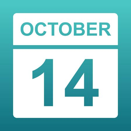 October 14. White calendar on a colored background. Day on the calendar. Fourteenth of october. Blue green background with gradient. illustration. Imagens