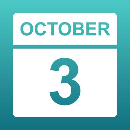 October 3. White calendar on a colored background. Day on the calendar. Third of october. Blue green background with gradient.Illustration.