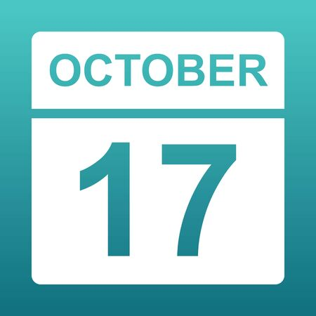 October17. White calendar on a colored background. Day on the calendar. Seventeenth of october. Blue green background with gradient. Illustration. Imagens