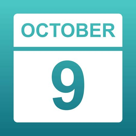 October 9. White calendar on a colored background. Day on the calendar. Ninth of october. Blue green background with gradient. Illustration.