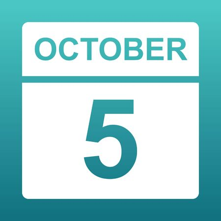 October 5. White calendar on a colored background. Day on the calendar. Fifth  of october. Blue green background with gradient. Illustration. Imagens