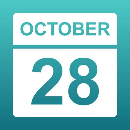 October 28. White calendar on a colored background. Day on the calendar. Twenty-eighth of october. Blue green background with gradient. Illustration. Imagens