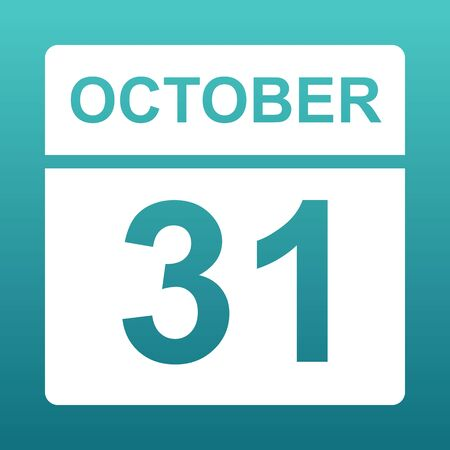 October 31. White calendar on a colored background. Day on the calendar. Thirty first  of october. Blue green background with gradient. Illustration.