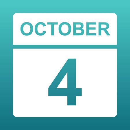 October 4. White calendar on a colored background. Day on the calendar. Fourth of october. Blue green background with gradient. Illustration.