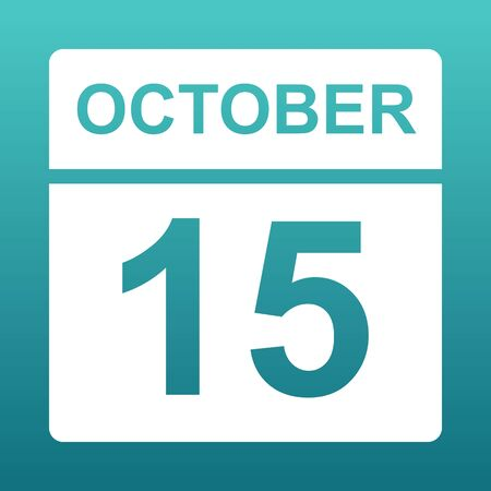 October 15. White calendar on a colored background. Day on the calendar. Fifteenth of october. Blue green background with gradient. Illustration. Imagens