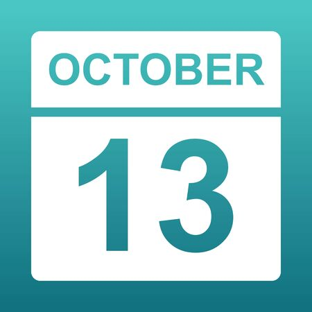October 13. White calendar on a colored background. Day on the calendar. Thirteenth of october. Blue green background with gradient. Illustration.