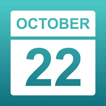 October 22. White calendar on a colored background. Day on the calendar. Twenty second of october. Blue green background with gradient.  Illustration.