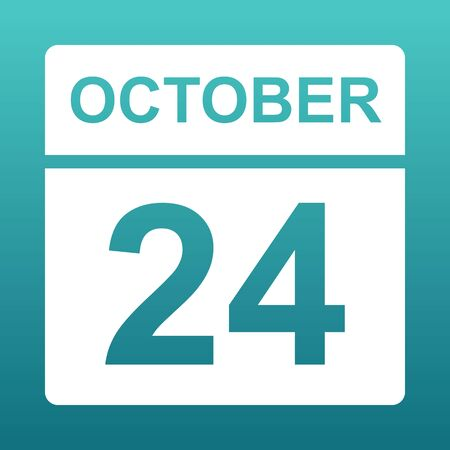 October 24. White calendar on a colored background. Day on the calendar. Twenty-fourth of october. Blue green background with gradient. Illustration.