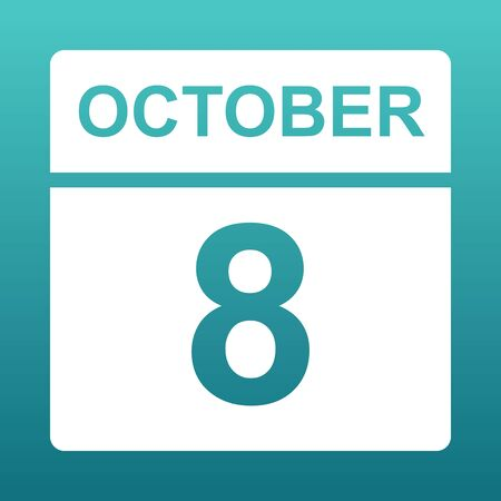 October 8. White calendar on a colored background. Day on the calendar. Eighth of october. Blue green background with gradient.  Illustration.