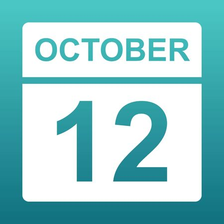 October 12. White calendar on a colored background. Day on the calendar. Twelfth of october. Blue green background with gradient. Illustration.