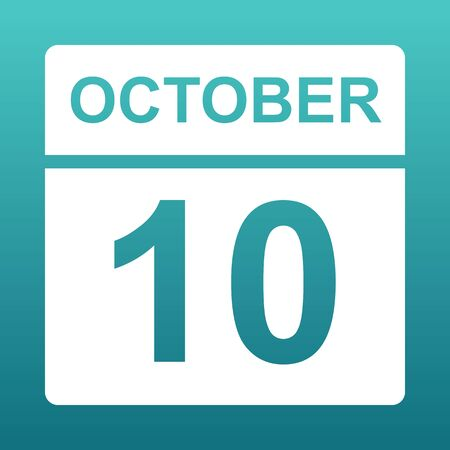 October 10. White calendar on a colored background. Day on the calendar. Tenth of october. Blue green background with gradient. Illustration.