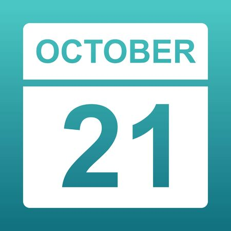 October 21. White calendar on a colored background. Day on the calendar. Twenty first of october. Blue green background with gradient. Illustration.