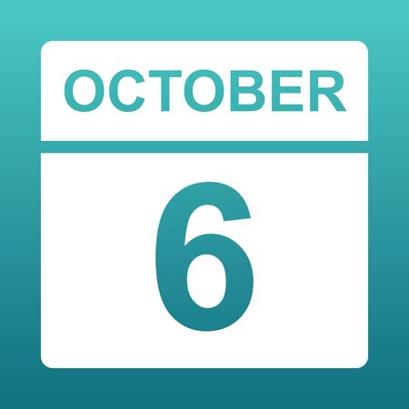 October 6. White calendar on a colored background. Day on the calendar. Sixth of october. Blue green background with gradient. . Illustration.