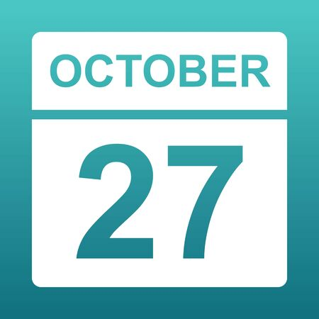 October 27. White calendar on a colored background. Day on the calendar. Twenty seventh of october. Blue green background with gradient. Illustration.