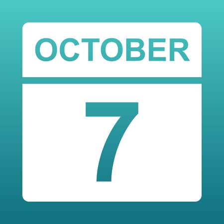 October 7. White calendar on a colored background. Day on the calendar. Seventh of october. Blue green background with gradient. Illustration.